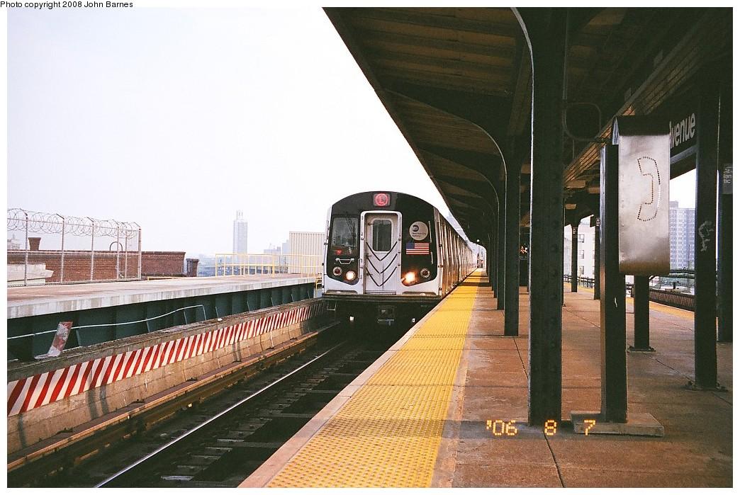 (234k, 1044x699)<br><b>Country:</b> United States<br><b>City:</b> New York<br><b>System:</b> New York City Transit<br><b>Line:</b> BMT Canarsie Line<br><b>Location:</b> Atlantic Avenue <br><b>Route:</b> L<br><b>Car:</b> R-143 (Kawasaki, 2001-2002)  <br><b>Photo by:</b> John Barnes<br><b>Date:</b> 8/6/2006<br><b>Viewed (this week/total):</b> 2 / 1293