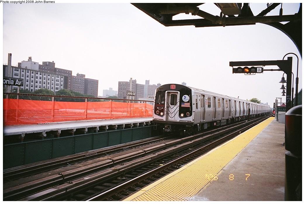 (230k, 1044x699)<br><b>Country:</b> United States<br><b>City:</b> New York<br><b>System:</b> New York City Transit<br><b>Line:</b> BMT Canarsie Line<br><b>Location:</b> Livonia Avenue <br><b>Route:</b> L<br><b>Car:</b> R-143 (Kawasaki, 2001-2002) 8148 <br><b>Photo by:</b> John Barnes<br><b>Date:</b> 8/6/2006<br><b>Viewed (this week/total):</b> 1 / 1586