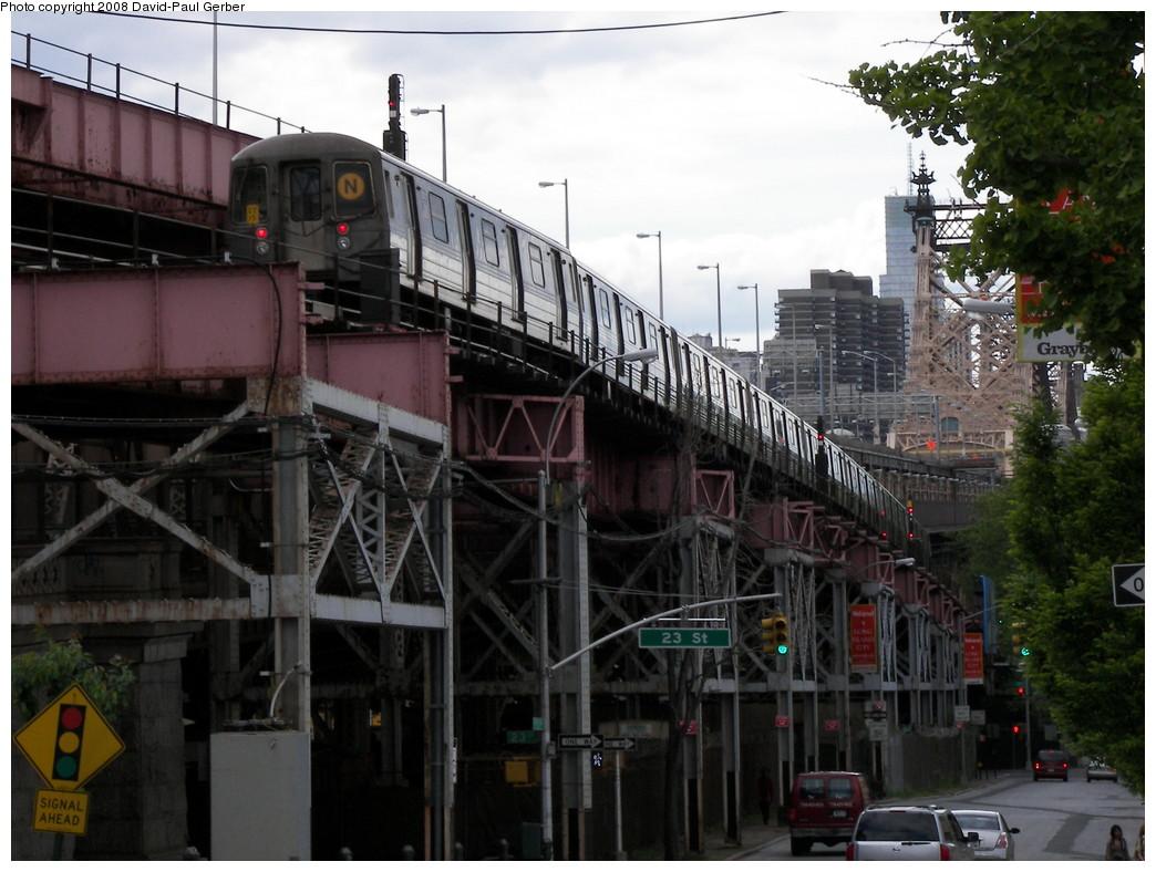 (268k, 1044x788)<br><b>Country:</b> United States<br><b>City:</b> New York<br><b>System:</b> New York City Transit<br><b>Line:</b> BMT Astoria Line<br><b>Location:</b> Queensborough Plaza <br><b>Route:</b> N<br><b>Car:</b> R-68/R-68A Series (Number Unknown)  <br><b>Photo by:</b> David-Paul Gerber<br><b>Date:</b> 5/24/2008<br><b>Viewed (this week/total):</b> 1 / 2462