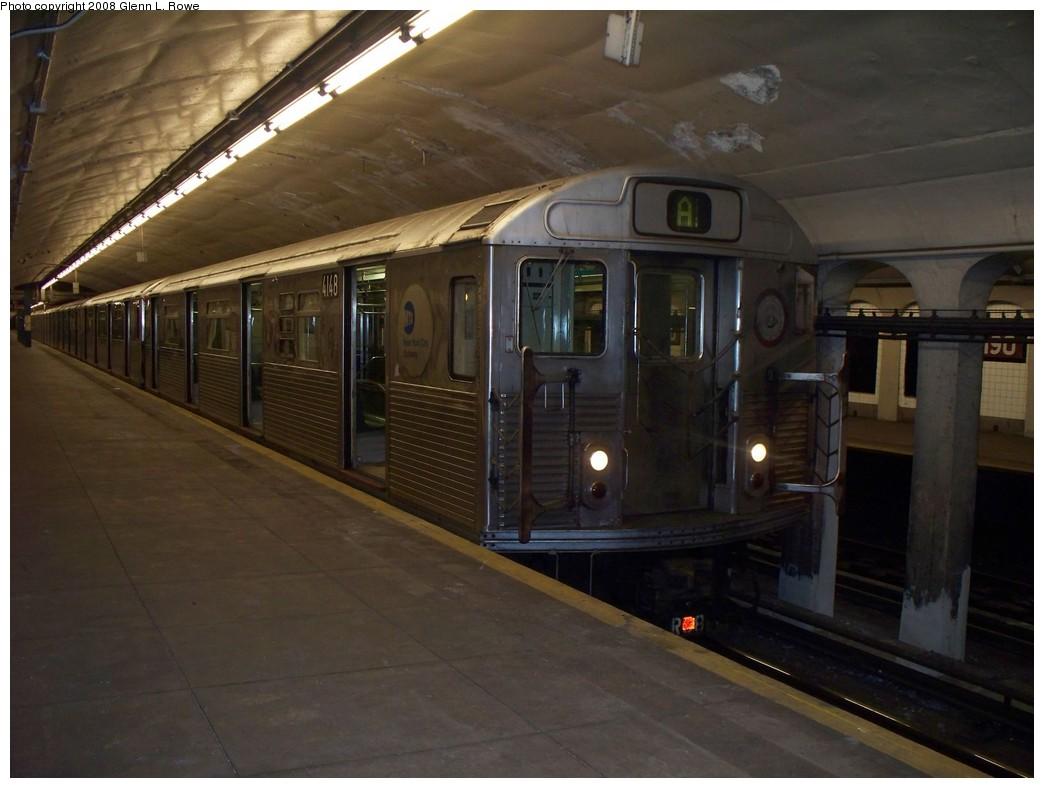 (173k, 1044x788)<br><b>Country:</b> United States<br><b>City:</b> New York<br><b>System:</b> New York City Transit<br><b>Line:</b> IND 8th Avenue Line<br><b>Location:</b> 190th Street/Overlook Terrace <br><b>Route:</b> A<br><b>Car:</b> R-38 (St. Louis, 1966-1967)  4148 <br><b>Photo by:</b> Glenn L. Rowe<br><b>Date:</b> 5/29/2008<br><b>Viewed (this week/total):</b> 0 / 1826