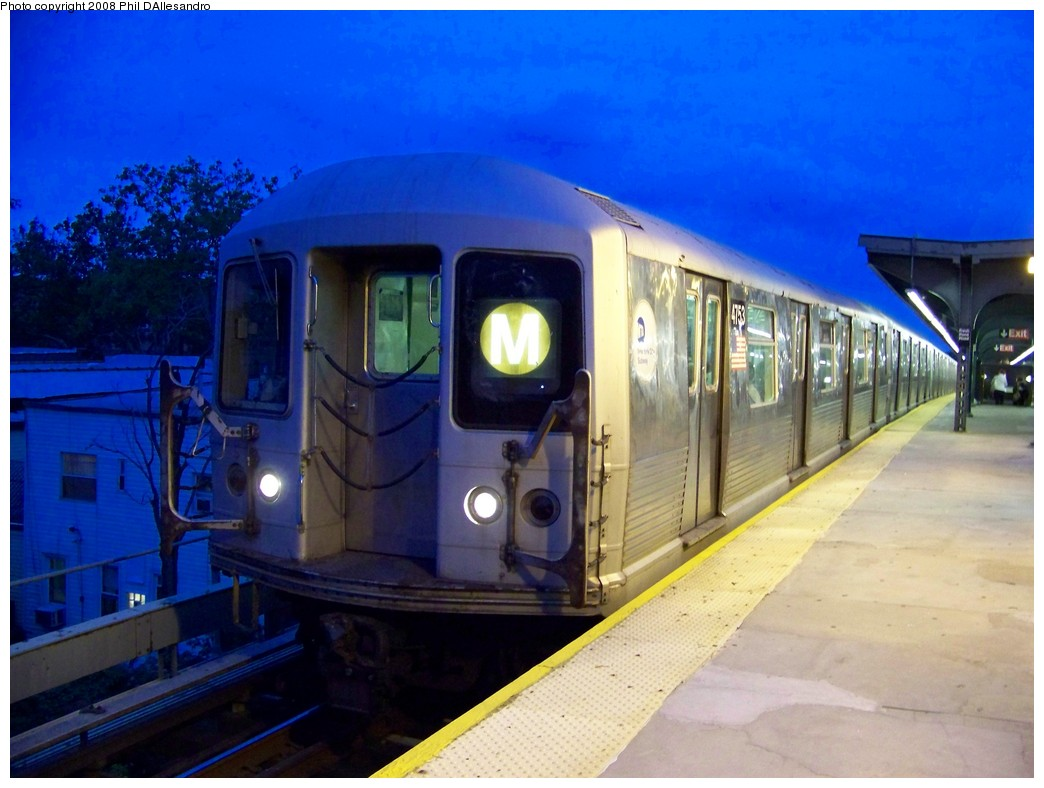 (188k, 1044x788)<br><b>Country:</b> United States<br><b>City:</b> New York<br><b>System:</b> New York City Transit<br><b>Line:</b> BMT Myrtle Avenue Line<br><b>Location:</b> Fresh Pond Road <br><b>Route:</b> M<br><b>Car:</b> R-42 (St. Louis, 1969-1970)  4753 <br><b>Photo by:</b> Philip D'Allesandro<br><b>Date:</b> 9/14/2007<br><b>Viewed (this week/total):</b> 1 / 1698