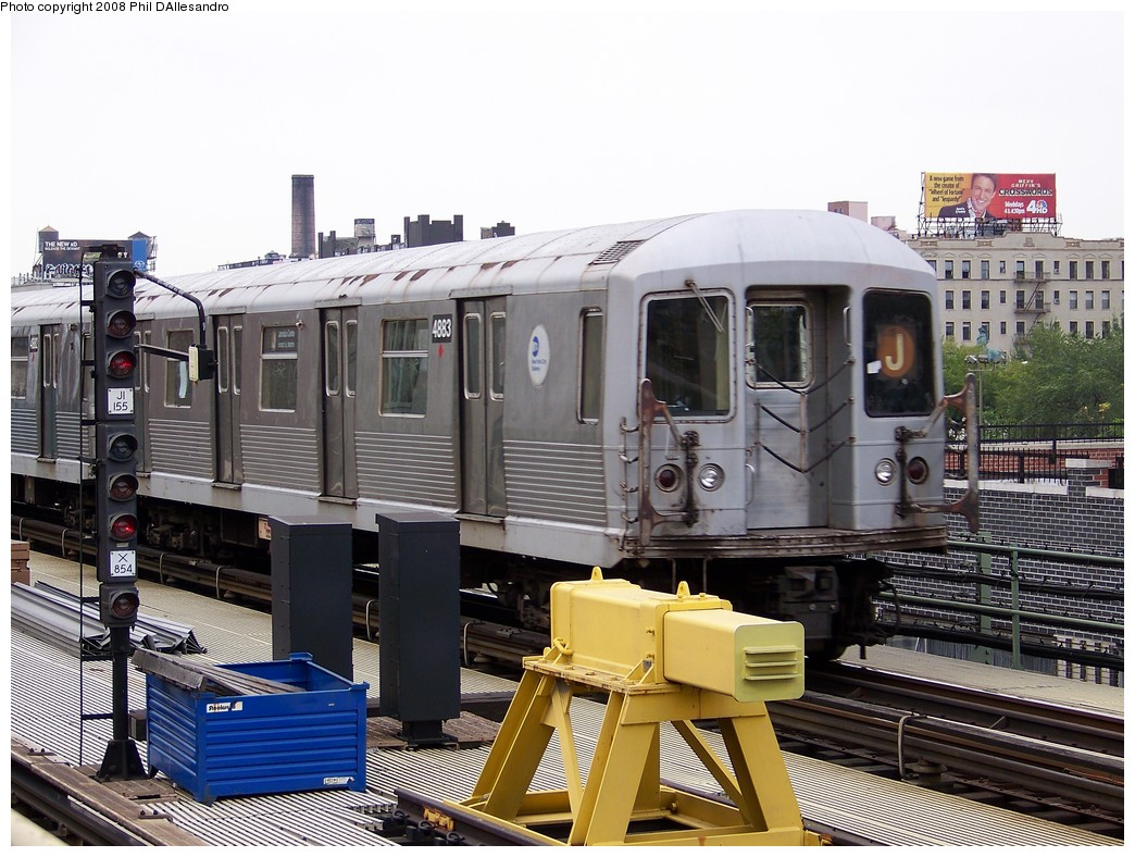 (240k, 1044x788)<br><b>Country:</b> United States<br><b>City:</b> New York<br><b>System:</b> New York City Transit<br><b>Line:</b> BMT Nassau Street/Jamaica Line<br><b>Location:</b> Marcy Avenue <br><b>Route:</b> J<br><b>Car:</b> R-42 (St. Louis, 1969-1970)  4883 <br><b>Photo by:</b> Philip D'Allesandro<br><b>Date:</b> 9/14/2007<br><b>Viewed (this week/total):</b> 0 / 1363