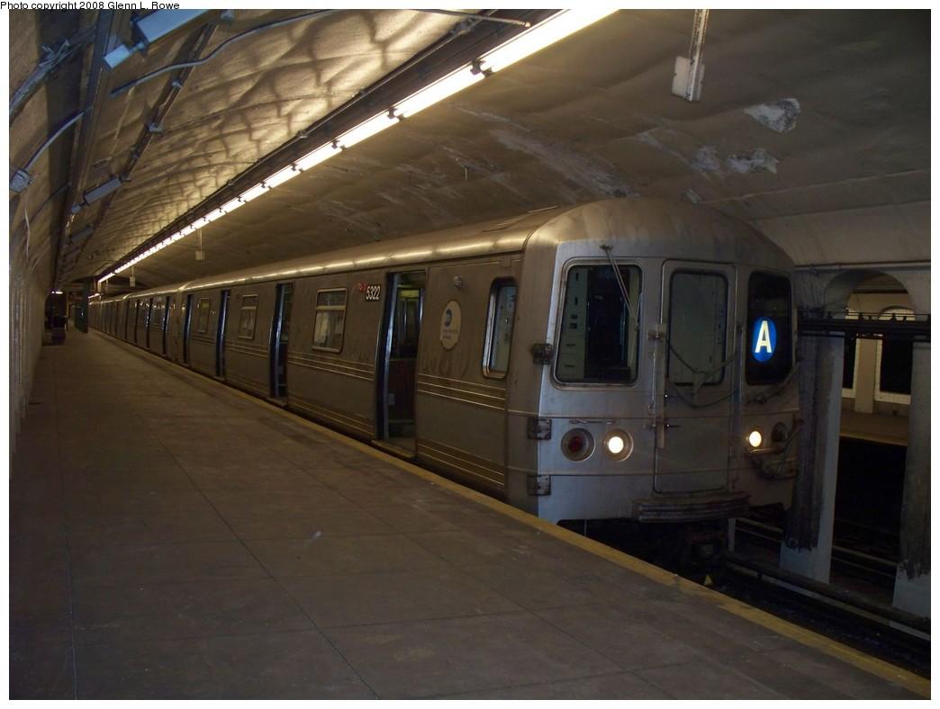 (170k, 1044x788)<br><b>Country:</b> United States<br><b>City:</b> New York<br><b>System:</b> New York City Transit<br><b>Line:</b> IND 8th Avenue Line<br><b>Location:</b> 190th Street/Overlook Terrace <br><b>Route:</b> A<br><b>Car:</b> R-44 (St. Louis, 1971-73) 5322 <br><b>Photo by:</b> Glenn L. Rowe<br><b>Date:</b> 5/29/2008<br><b>Viewed (this week/total):</b> 7 / 2169