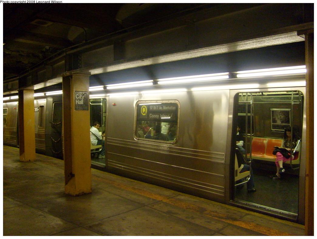 (252k, 1044x788)<br><b>Country:</b> United States<br><b>City:</b> New York<br><b>System:</b> New York City Transit<br><b>Line:</b> BMT Broadway Line<br><b>Location:</b> City Hall <br><b>Route:</b> Q reroute<br><b>Car:</b> R-68A (Kawasaki, 1988-1989)  5186 <br><b>Photo by:</b> Leonard Wilson<br><b>Date:</b> 5/17/2008<br><b>Viewed (this week/total):</b> 1 / 3561
