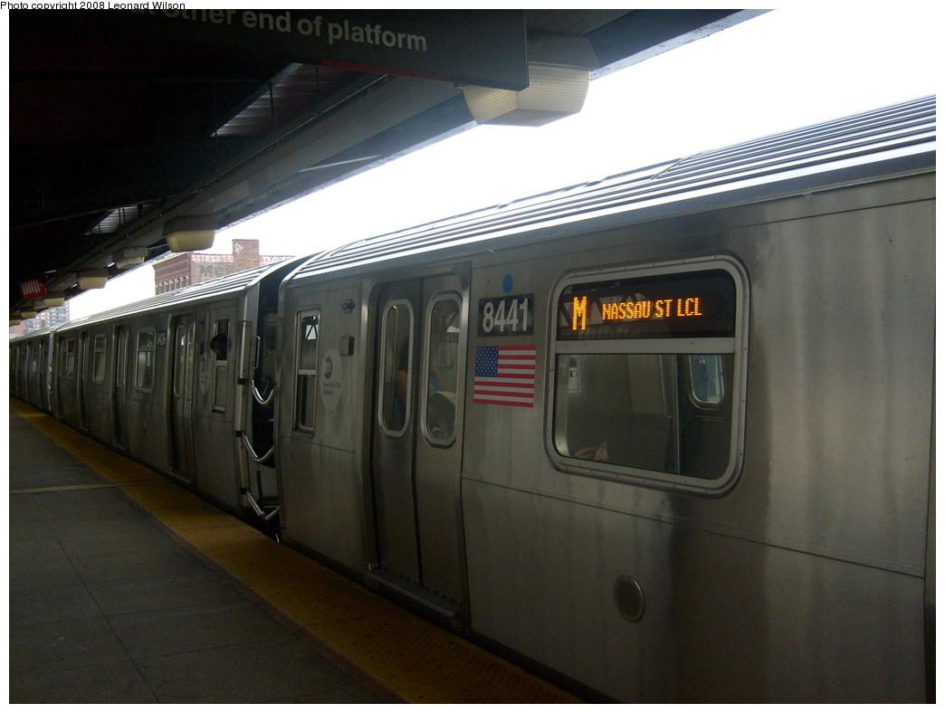 (203k, 1044x788)<br><b>Country:</b> United States<br><b>City:</b> New York<br><b>System:</b> New York City Transit<br><b>Line:</b> BMT Nassau Street/Jamaica Line<br><b>Location:</b> Hewes Street <br><b>Route:</b> M<br><b>Car:</b> R-160A-1 (Alstom, 2005-2008, 4 car sets)  8441 <br><b>Photo by:</b> Leonard Wilson<br><b>Date:</b> 5/15/2008<br><b>Viewed (this week/total):</b> 0 / 1969