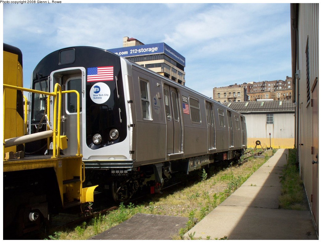 (214k, 1044x788)<br><b>Country:</b> United States<br><b>City:</b> New York<br><b>System:</b> New York City Transit<br><b>Location:</b> 207th Street Yard<br><b>Car:</b> R-160B (Option 1) (Kawasaki, 2008-2009)  9002 <br><b>Photo by:</b> Glenn L. Rowe<br><b>Date:</b> 5/30/2008<br><b>Viewed (this week/total):</b> 0 / 2820