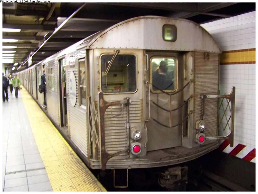 (194k, 1044x788)<br><b>Country:</b> United States<br><b>City:</b> New York<br><b>System:</b> New York City Transit<br><b>Line:</b> IND 8th Avenue Line<br><b>Location:</b> 14th Street <br><b>Route:</b> E<br><b>Car:</b> R-32 (Budd, 1964)  3503 <br><b>Photo by:</b> Paul Ferbrache<br><b>Date:</b> 4/29/2008<br><b>Viewed (this week/total):</b> 8 / 1691