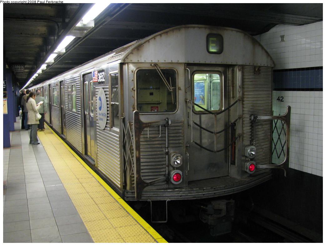 (217k, 1044x788)<br><b>Country:</b> United States<br><b>City:</b> New York<br><b>System:</b> New York City Transit<br><b>Line:</b> IND 8th Avenue Line<br><b>Location:</b> 42nd Street/Port Authority Bus Terminal <br><b>Route:</b> E<br><b>Car:</b> R-32 (Budd, 1964)  3652 <br><b>Photo by:</b> Paul Ferbrache<br><b>Date:</b> 4/30/2008<br><b>Viewed (this week/total):</b> 0 / 1904