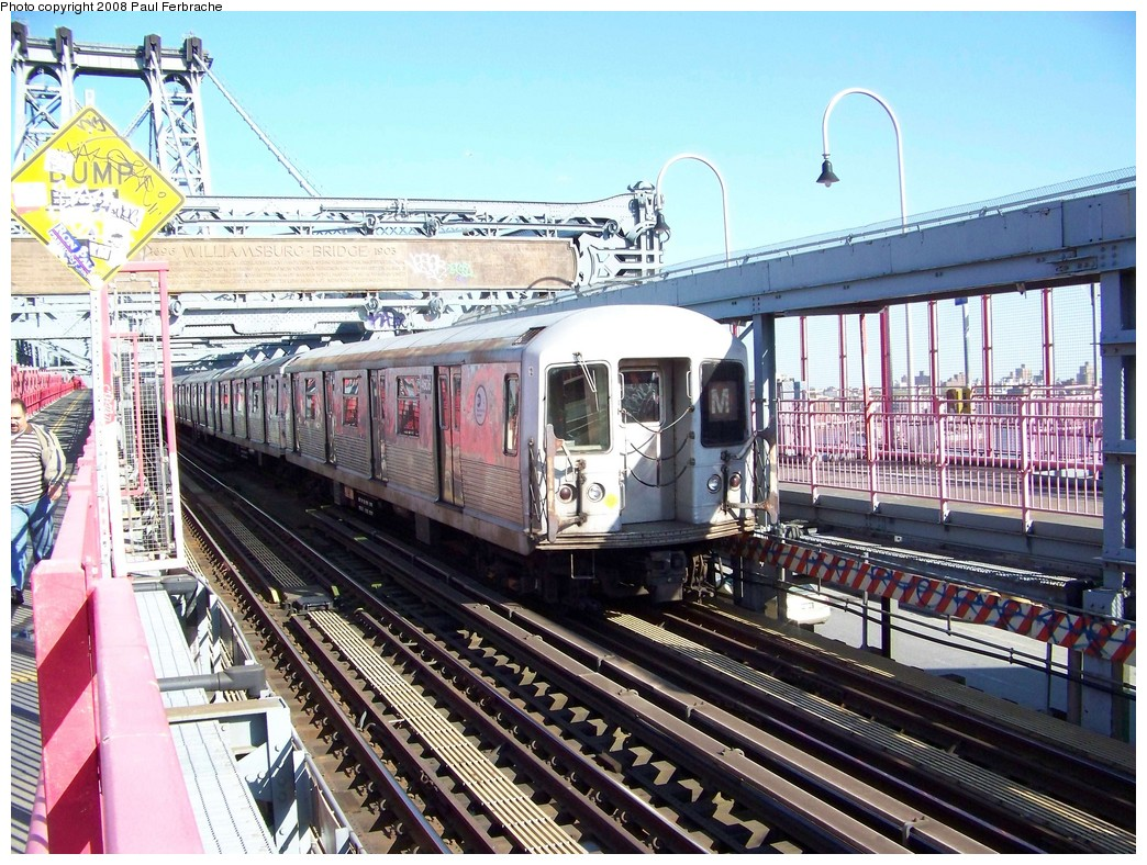 (302k, 1044x788)<br><b>Country:</b> United States<br><b>City:</b> New York<br><b>System:</b> New York City Transit<br><b>Line:</b> BMT Nassau Street/Jamaica Line<br><b>Location:</b> Williamsburg Bridge<br><b>Route:</b> M<br><b>Car:</b> R-42 (St. Louis, 1969-1970)  4606 <br><b>Photo by:</b> Paul Ferbrache<br><b>Date:</b> 4/29/2008<br><b>Viewed (this week/total):</b> 1 / 1558