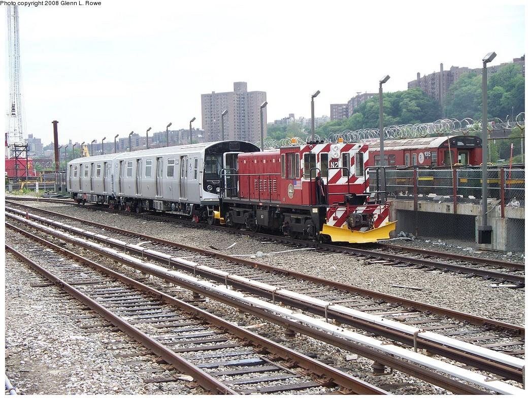 (342k, 1044x788)<br><b>Country:</b> United States<br><b>City:</b> New York<br><b>System:</b> New York City Transit<br><b>Location:</b> 207th Street Yard<br><b>Car:</b> R-160A-1 (Alstom, 2005-2008, 4 car sets)  8564/8563 <br><b>Photo by:</b> Glenn L. Rowe<br><b>Date:</b> 6/3/2008<br><b>Notes:</b> SBK locomotive N2 towing R160A 8564-8563, just delivered.<br><b>Viewed (this week/total):</b> 2 / 3217