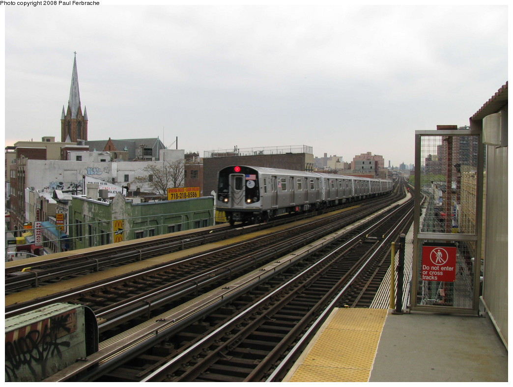(217k, 1044x788)<br><b>Country:</b> United States<br><b>City:</b> New York<br><b>System:</b> New York City Transit<br><b>Line:</b> BMT Nassau Street/Jamaica Line<br><b>Location:</b> Flushing Avenue <br><b>Route:</b> M<br><b>Car:</b> R-160A-1 (Alstom, 2005-2008, 4 car sets)  8448 <br><b>Photo by:</b> Paul Ferbrache<br><b>Date:</b> 5/1/2008<br><b>Viewed (this week/total):</b> 0 / 1964
