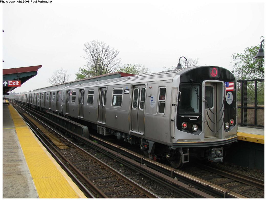 (214k, 1044x788)<br><b>Country:</b> United States<br><b>City:</b> New York<br><b>System:</b> New York City Transit<br><b>Line:</b> BMT Canarsie Line<br><b>Location:</b> New Lots Avenue <br><b>Route:</b> L<br><b>Car:</b> R-160A-1 (Alstom, 2005-2008, 4 car sets)  8468 <br><b>Photo by:</b> Paul Ferbrache<br><b>Date:</b> 5/2/2008<br><b>Viewed (this week/total):</b> 1 / 1702