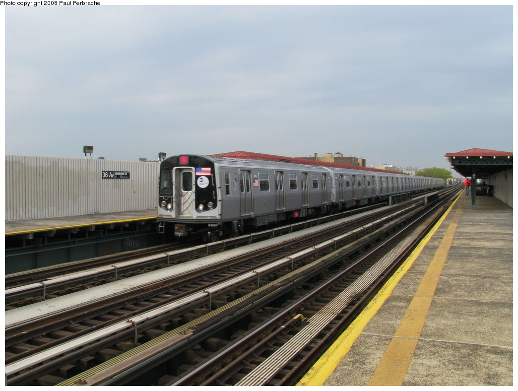 (208k, 1044x788)<br><b>Country:</b> United States<br><b>City:</b> New York<br><b>System:</b> New York City Transit<br><b>Line:</b> BMT Astoria Line<br><b>Location:</b> 36th/Washington Aves. <br><b>Route:</b> N<br><b>Car:</b> R-160B (Kawasaki, 2005-2008)  8913 <br><b>Photo by:</b> Paul Ferbrache<br><b>Date:</b> 5/1/2008<br><b>Viewed (this week/total):</b> 0 / 2430