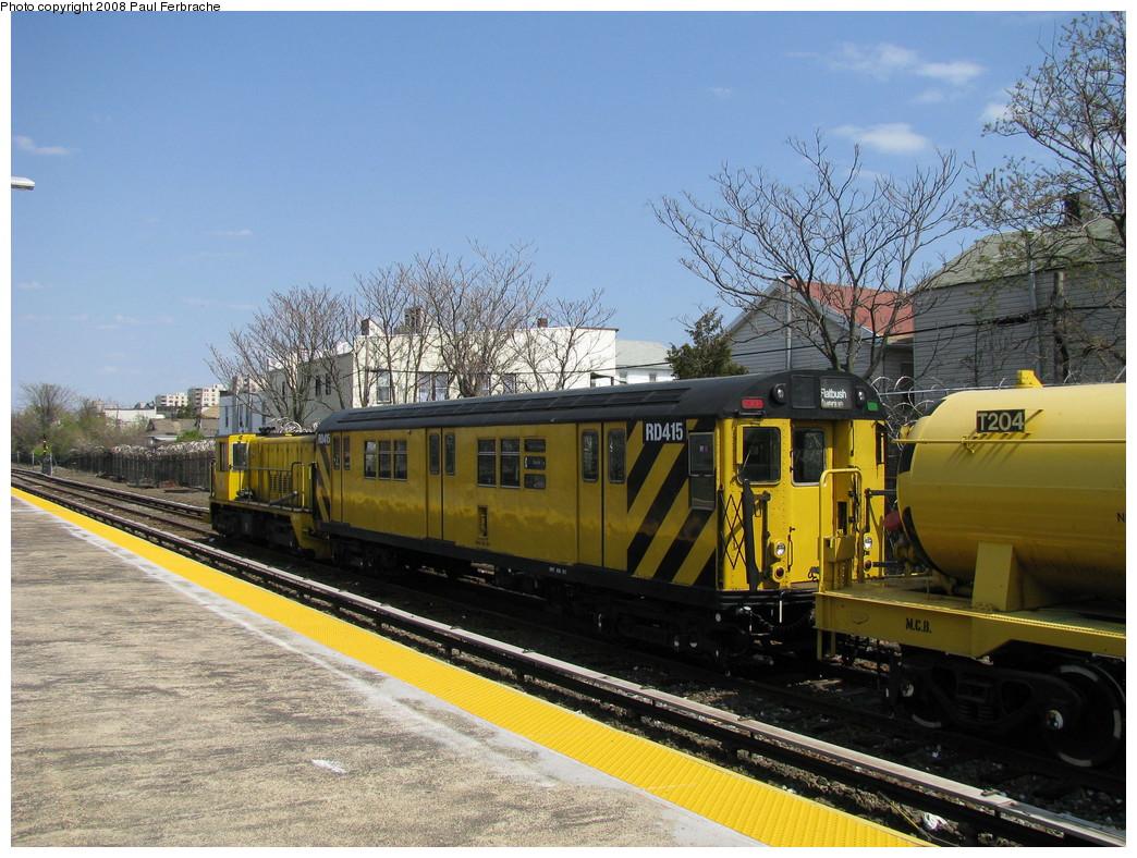 (271k, 1044x788)<br><b>Country:</b> United States<br><b>City:</b> New York<br><b>System:</b> New York City Transit<br><b>Location:</b> Rockaway Park Yard<br><b>Car:</b> R-161 Rider Car (ex-R-33)  RD415 (ex-9021)<br><b>Photo by:</b> Paul Ferbrache<br><b>Date:</b> 4/30/2008<br><b>Viewed (this week/total):</b> 1 / 2198
