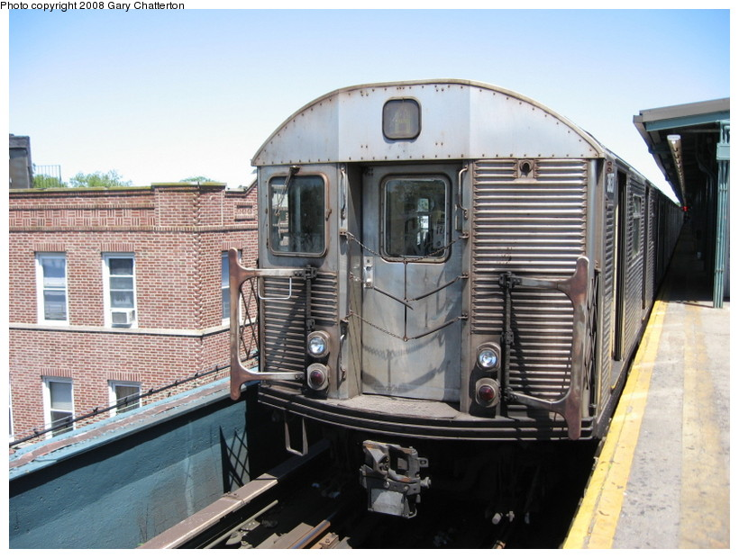 (152k, 820x620)<br><b>Country:</b> United States<br><b>City:</b> New York<br><b>System:</b> New York City Transit<br><b>Line:</b> IND Fulton Street Line<br><b>Location:</b> Lefferts Boulevard <br><b>Route:</b> A<br><b>Car:</b> R-32 (Budd, 1964)  3837 <br><b>Photo by:</b> Gary Chatterton<br><b>Date:</b> 5/28/2008<br><b>Viewed (this week/total):</b> 0 / 983