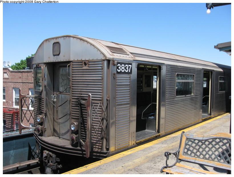 (149k, 820x620)<br><b>Country:</b> United States<br><b>City:</b> New York<br><b>System:</b> New York City Transit<br><b>Line:</b> IND Fulton Street Line<br><b>Location:</b> Lefferts Boulevard <br><b>Route:</b> A<br><b>Car:</b> R-32 (Budd, 1964)  3837 <br><b>Photo by:</b> Gary Chatterton<br><b>Date:</b> 5/28/2008<br><b>Viewed (this week/total):</b> 0 / 1321