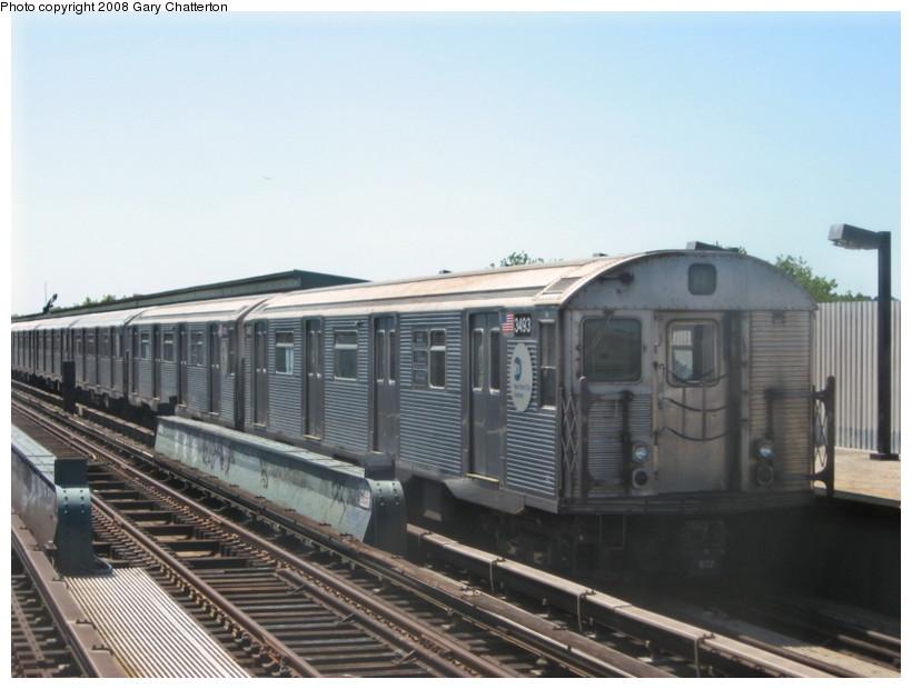 (111k, 820x620)<br><b>Country:</b> United States<br><b>City:</b> New York<br><b>System:</b> New York City Transit<br><b>Line:</b> IND Fulton Street Line<br><b>Location:</b> 88th Street/Boyd Avenue <br><b>Route:</b> A<br><b>Car:</b> R-32 (Budd, 1964)  3493 <br><b>Photo by:</b> Gary Chatterton<br><b>Date:</b> 5/28/2008<br><b>Viewed (this week/total):</b> 1 / 1442