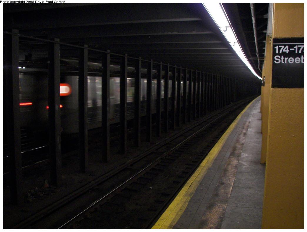 (239k, 1044x788)<br><b>Country:</b> United States<br><b>City:</b> New York<br><b>System:</b> New York City Transit<br><b>Line:</b> IND Concourse Line<br><b>Location:</b> 174th/175th Street <br><b>Route:</b> D<br><b>Car:</b> R-68 (Westinghouse-Amrail, 1986-1988)   <br><b>Photo by:</b> David-Paul Gerber<br><b>Date:</b> 6/6/2008<br><b>Viewed (this week/total):</b> 1 / 2243