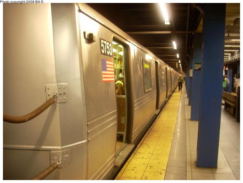 (130k, 820x620)<br><b>Country:</b> United States<br><b>City:</b> New York<br><b>System:</b> New York City Transit<br><b>Line:</b> IND 6th Avenue Line<br><b>Location:</b> Broadway/Lafayette <br><b>Route:</b> F<br><b>Car:</b> R-46 (Pullman-Standard, 1974-75) 5753 <br><b>Photo by:</b> Bill E.<br><b>Date:</b> 6/1/2008<br><b>Viewed (this week/total):</b> 0 / 1815