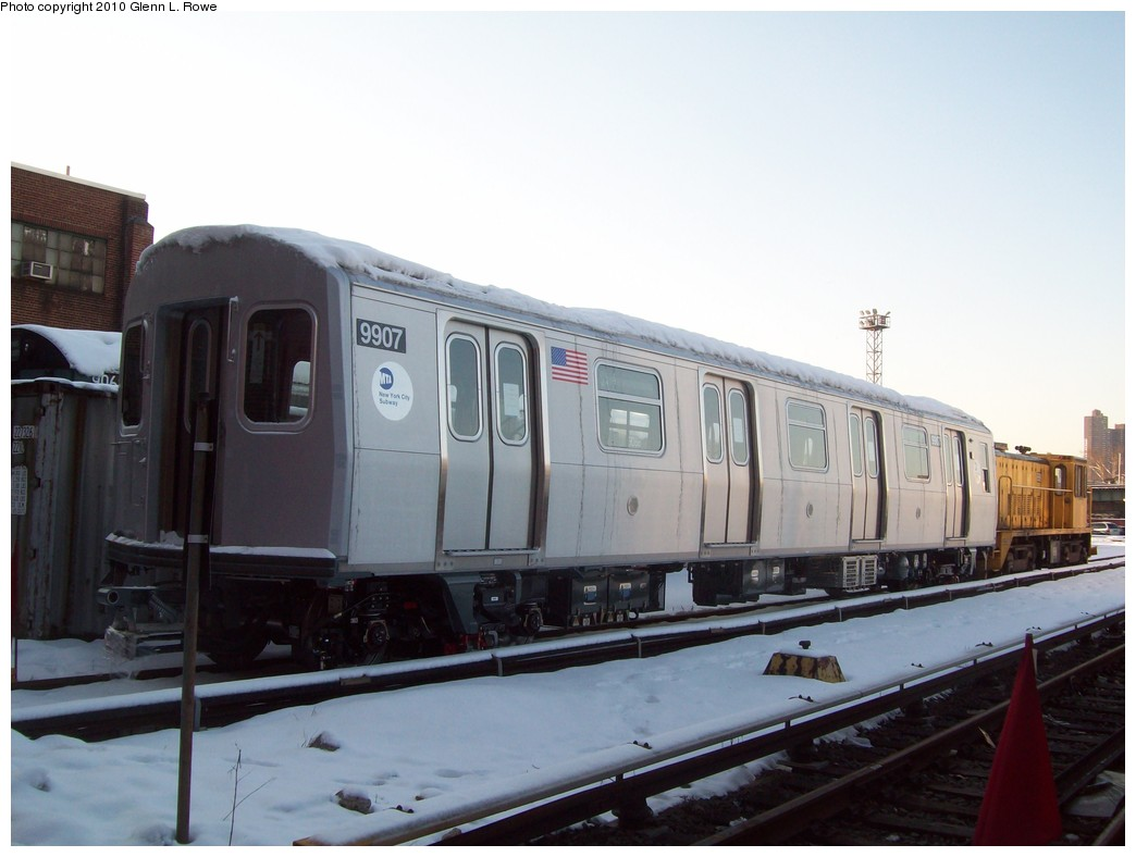 (158k, 1044x788)<br><b>Country:</b> United States<br><b>City:</b> New York<br><b>System:</b> New York City Transit<br><b>Location:</b> 207th Street Yard<br><b>Car:</b> R-160B (Option 2) (Kawasaki, 2009)  9907 <br><b>Photo by:</b> Glenn L. Rowe<br><b>Date:</b> 2/17/2010<br><b>Viewed (this week/total):</b> 0 / 1577