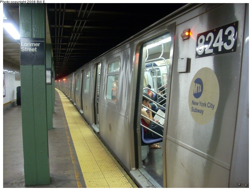 (146k, 820x620)<br><b>Country:</b> United States<br><b>City:</b> New York<br><b>System:</b> New York City Transit<br><b>Line:</b> BMT Canarsie Line<br><b>Location:</b> Lorimer Street <br><b>Route:</b> L<br><b>Car:</b> R-143 (Kawasaki, 2001-2002) 8243 <br><b>Photo by:</b> Bill E.<br><b>Date:</b> 6/1/2008<br><b>Viewed (this week/total):</b> 1 / 2703