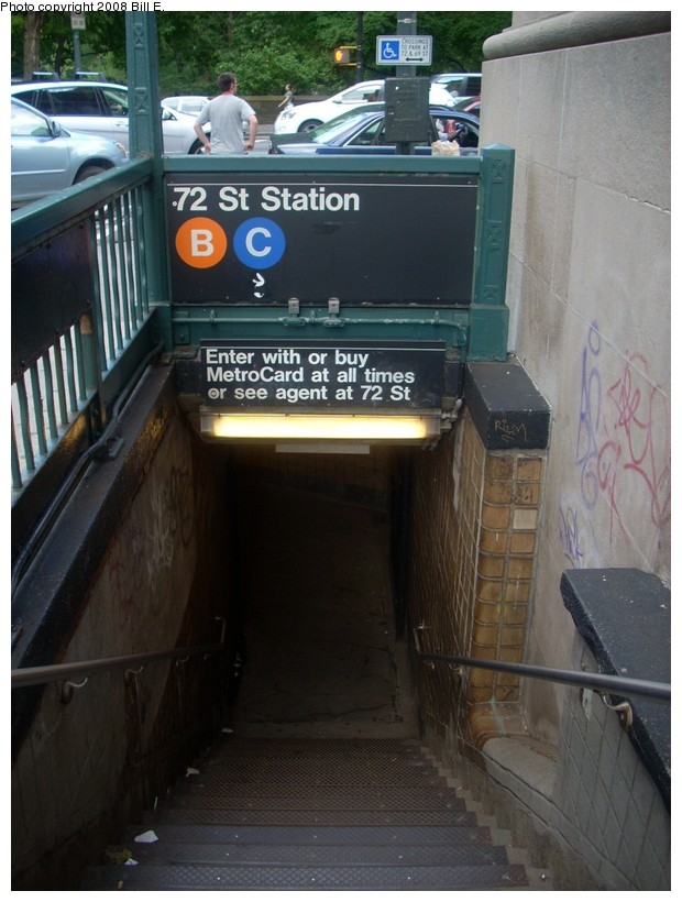 (159k, 620x820)<br><b>Country:</b> United States<br><b>City:</b> New York<br><b>System:</b> New York City Transit<br><b>Line:</b> IND 8th Avenue Line<br><b>Location:</b> 72nd Street <br><b>Photo by:</b> Bill E.<br><b>Date:</b> 6/1/2008<br><b>Notes:</b> Station entrance.<br><b>Viewed (this week/total):</b> 0 / 2539