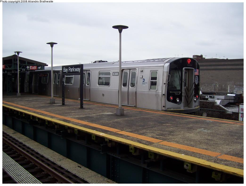 (197k, 1044x791)<br><b>Country:</b> United States<br><b>City:</b> New York<br><b>System:</b> New York City Transit<br><b>Line:</b> BMT West End Line<br><b>Location:</b> Bay Parkway <br><b>Route:</b> M<br><b>Car:</b> R-160A-1 (Alstom, 2005-2008, 4 car sets)  8388 <br><b>Photo by:</b> Aliandro Brathwaite<br><b>Date:</b> 6/5/2008<br><b>Viewed (this week/total):</b> 0 / 1790