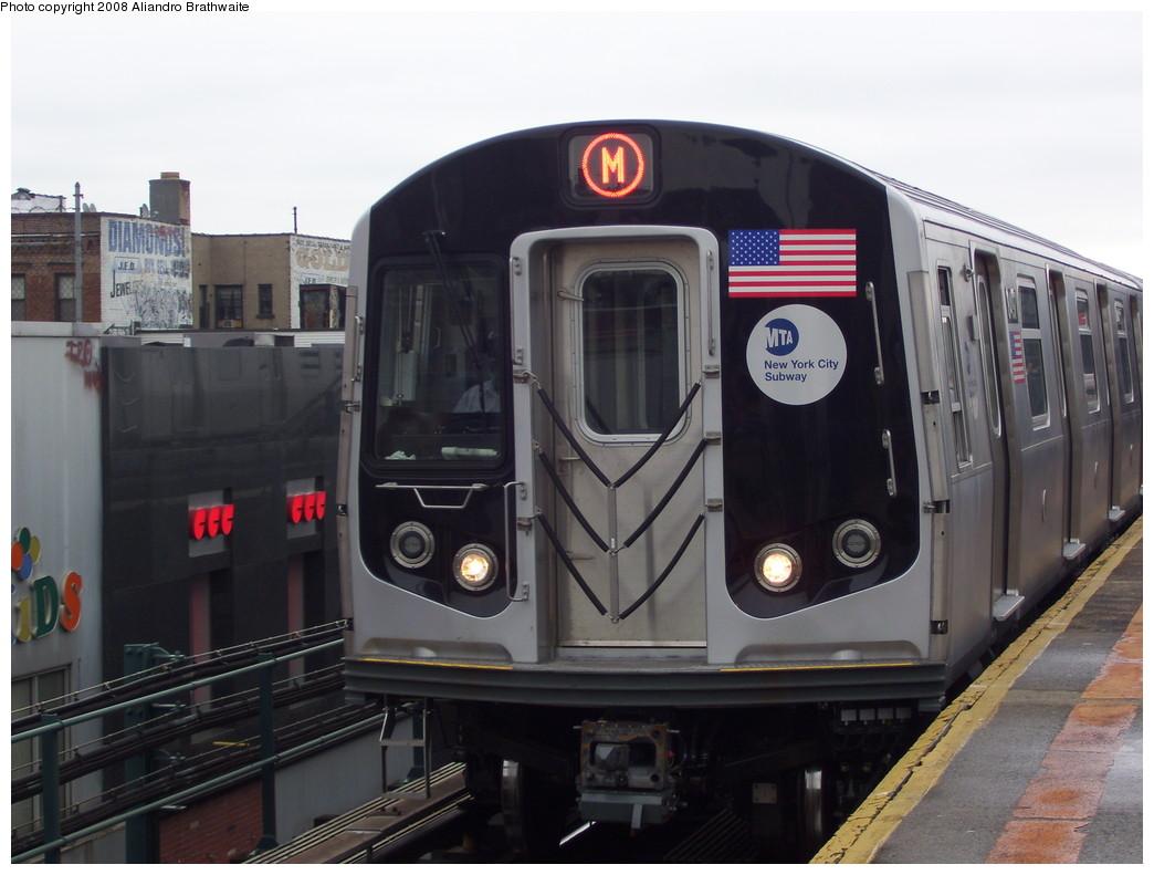 (190k, 1044x791)<br><b>Country:</b> United States<br><b>City:</b> New York<br><b>System:</b> New York City Transit<br><b>Line:</b> BMT West End Line<br><b>Location:</b> Bay Parkway <br><b>Route:</b> M<br><b>Car:</b> R-160A-1 (Alstom, 2005-2008, 4 car sets)  8497 <br><b>Photo by:</b> Aliandro Brathwaite<br><b>Date:</b> 6/5/2008<br><b>Viewed (this week/total):</b> 1 / 2555