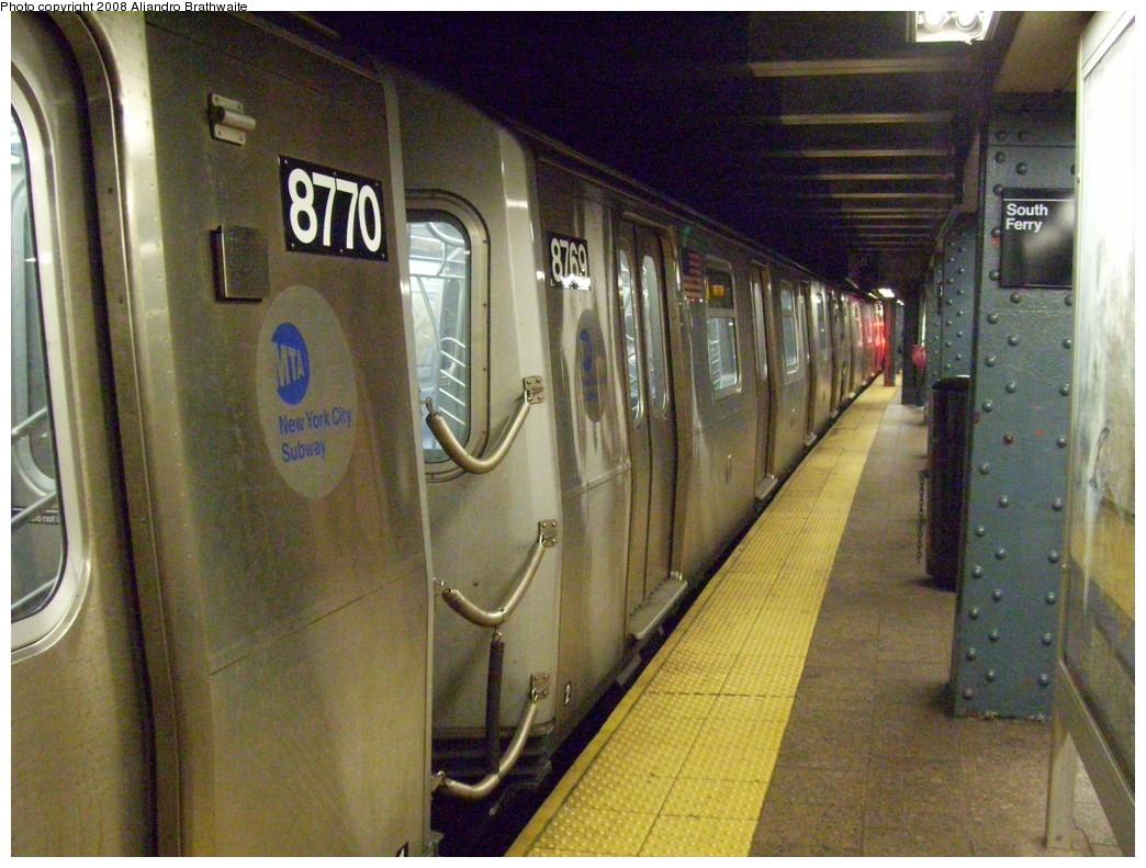 (264k, 1044x791)<br><b>Country:</b> United States<br><b>City:</b> New York<br><b>System:</b> New York City Transit<br><b>Line:</b> BMT Broadway Line<br><b>Location:</b> Whitehall Street <br><b>Route:</b> W<br><b>Car:</b> R-160B (Kawasaki, 2005-2008)  8770 <br><b>Photo by:</b> Aliandro Brathwaite<br><b>Date:</b> 6/5/2008<br><b>Viewed (this week/total):</b> 0 / 2179