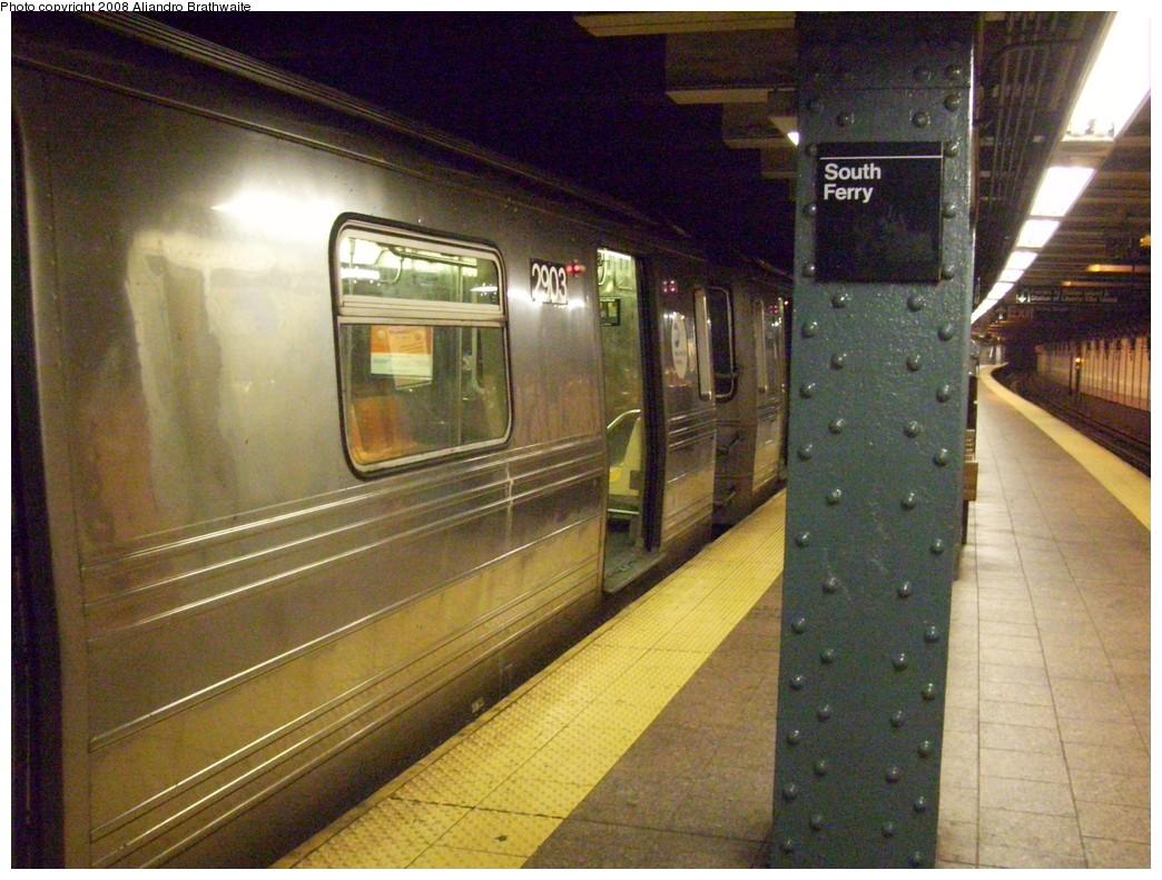 (266k, 1044x791)<br><b>Country:</b> United States<br><b>City:</b> New York<br><b>System:</b> New York City Transit<br><b>Line:</b> BMT Broadway Line<br><b>Location:</b> Whitehall Street <br><b>Route:</b> W<br><b>Car:</b> R-68 (Westinghouse-Amrail, 1986-1988)  2903 <br><b>Photo by:</b> Aliandro Brathwaite<br><b>Date:</b> 6/5/2008<br><b>Viewed (this week/total):</b> 0 / 1970