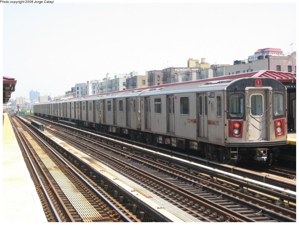 (227k, 1044x788)<br><b>Country:</b> United States<br><b>City:</b> New York<br><b>System:</b> New York City Transit<br><b>Line:</b> IRT Woodlawn Line<br><b>Location:</b> 170th Street <br><b>Route:</b> 4<br><b>Car:</b> R-142 (Option Order, Bombardier, 2002-2003)  1166 <br><b>Photo by:</b> Jorge Catayi<br><b>Date:</b> 6/9/2008<br><b>Viewed (this week/total):</b> 1 / 1756
