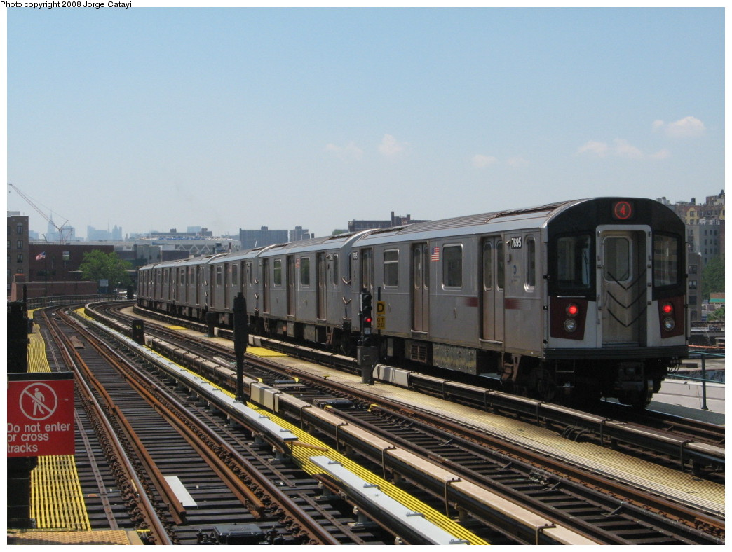 (215k, 1044x788)<br><b>Country:</b> United States<br><b>City:</b> New York<br><b>System:</b> New York City Transit<br><b>Line:</b> IRT Woodlawn Line<br><b>Location:</b> 170th Street <br><b>Route:</b> 4<br><b>Car:</b> R-142A (Option Order, Kawasaki, 2002-2003)  7695 <br><b>Photo by:</b> Jorge Catayi<br><b>Date:</b> 6/9/2008<br><b>Viewed (this week/total):</b> 0 / 2531