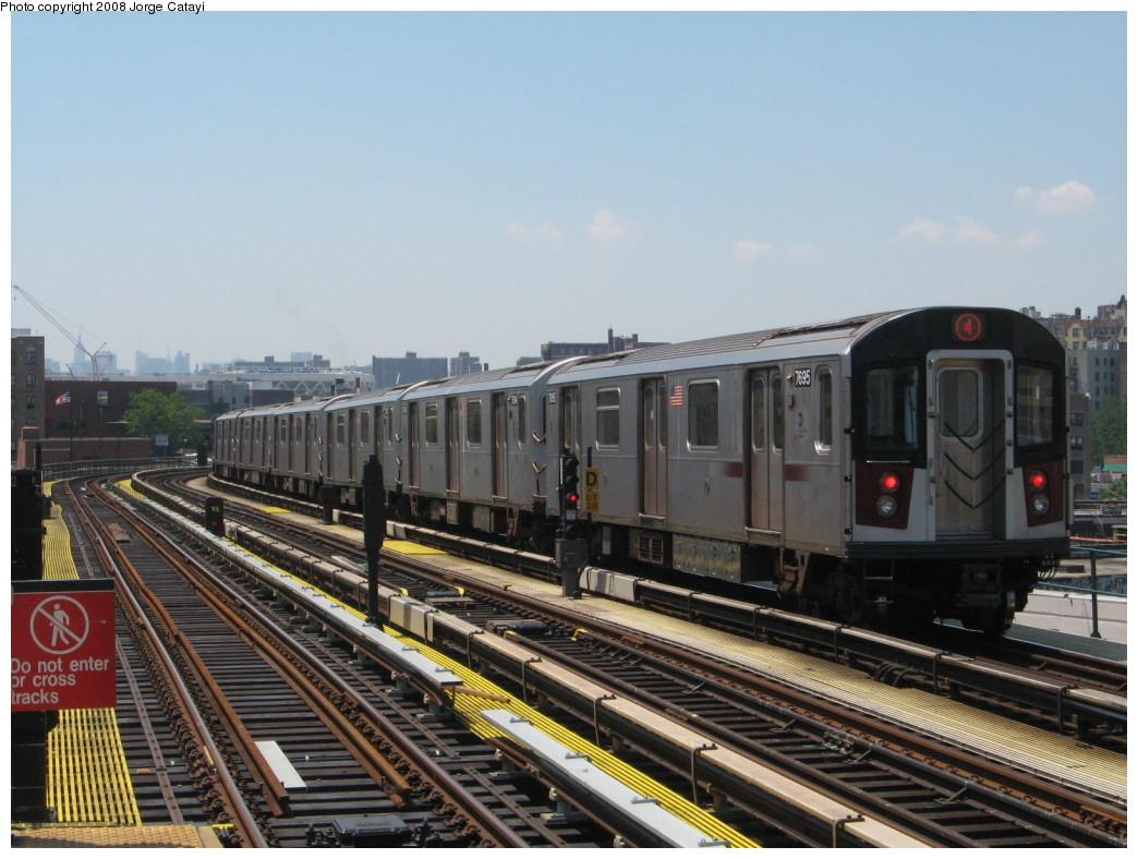 (215k, 1044x788)<br><b>Country:</b> United States<br><b>City:</b> New York<br><b>System:</b> New York City Transit<br><b>Line:</b> IRT Woodlawn Line<br><b>Location:</b> 170th Street <br><b>Route:</b> 4<br><b>Car:</b> R-142A (Option Order, Kawasaki, 2002-2003)  7695 <br><b>Photo by:</b> Jorge Catayi<br><b>Date:</b> 6/9/2008<br><b>Viewed (this week/total):</b> 3 / 2185