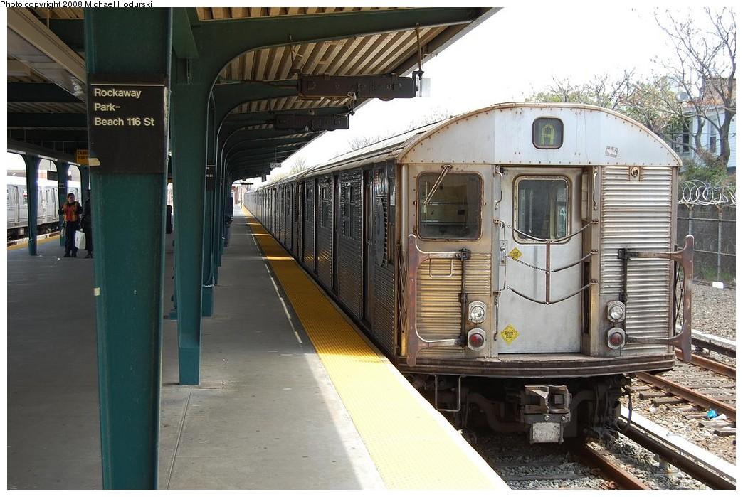 (244k, 1044x699)<br><b>Country:</b> United States<br><b>City:</b> New York<br><b>System:</b> New York City Transit<br><b>Line:</b> IND Rockaway<br><b>Location:</b> Rockaway Park/Beach 116th Street <br><b>Route:</b> A<br><b>Car:</b> R-32 (Budd, 1964)  3912 <br><b>Photo by:</b> Michael Hodurski<br><b>Date:</b> 5/3/2008<br><b>Viewed (this week/total):</b> 0 / 1641