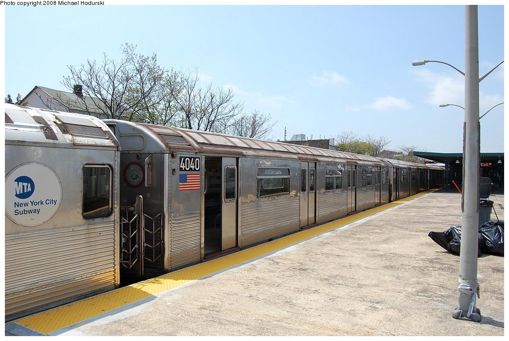 (258k, 1044x699)<br><b>Country:</b> United States<br><b>City:</b> New York<br><b>System:</b> New York City Transit<br><b>Line:</b> IND Rockaway<br><b>Location:</b> Rockaway Park/Beach 116th Street <br><b>Route:</b> A<br><b>Car:</b> R-38 (St. Louis, 1966-1967)  4040 <br><b>Photo by:</b> Michael Hodurski<br><b>Date:</b> 5/3/2008<br><b>Viewed (this week/total):</b> 0 / 1405