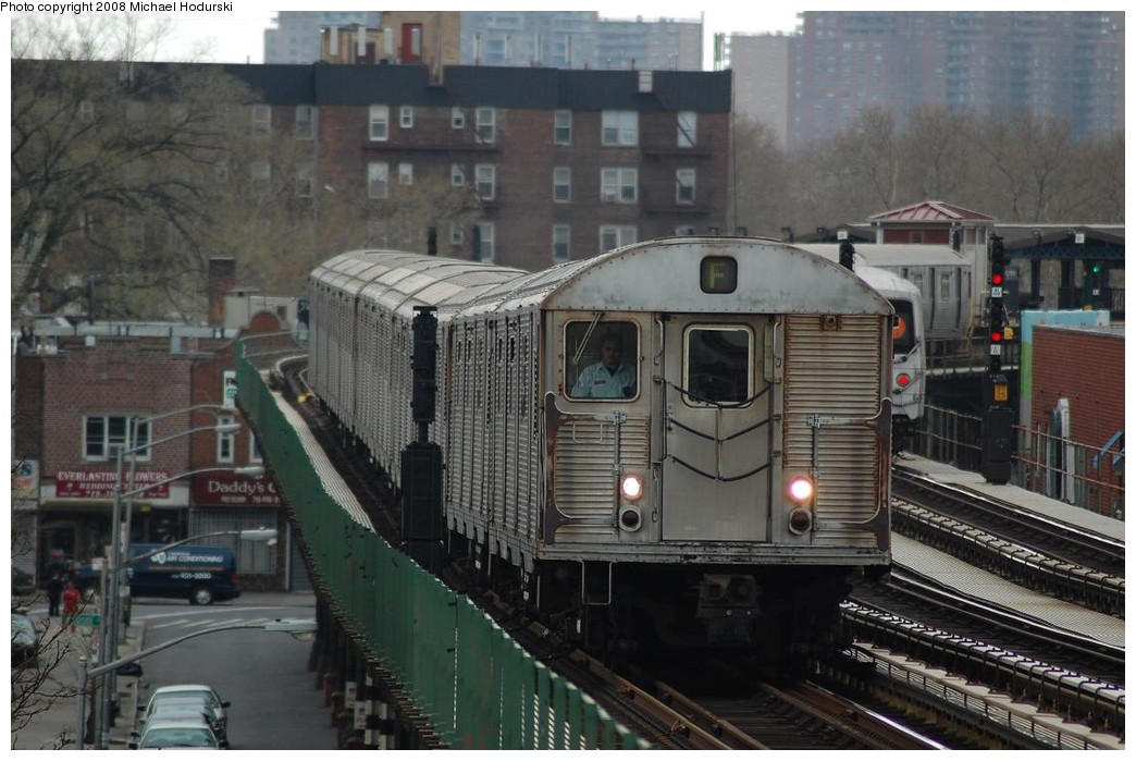 (220k, 1044x699)<br><b>Country:</b> United States<br><b>City:</b> New York<br><b>System:</b> New York City Transit<br><b>Line:</b> BMT Culver Line<br><b>Location:</b> Avenue P<br><b>Route:</b> F<br><b>Car:</b> R-32 (Budd, 1964) 3833 <br><b>Photo by:</b> Michael Hodurski<br><b>Date:</b> 4/19/2008<br><b>Viewed (this week/total):</b> 4 / 2242