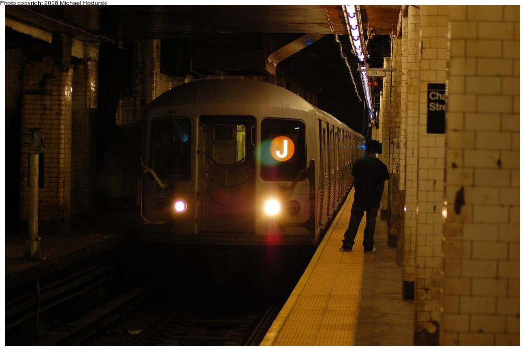 (166k, 1044x699)<br><b>Country:</b> United States<br><b>City:</b> New York<br><b>System:</b> New York City Transit<br><b>Line:</b> BMT Nassau Street/Jamaica Line<br><b>Location:</b> Chambers Street <br><b>Route:</b> J<br><b>Car:</b> R-42 (St. Louis, 1969-1970)  4636 <br><b>Photo by:</b> Michael Hodurski<br><b>Date:</b> 4/18/2008<br><b>Viewed (this week/total):</b> 0 / 2611