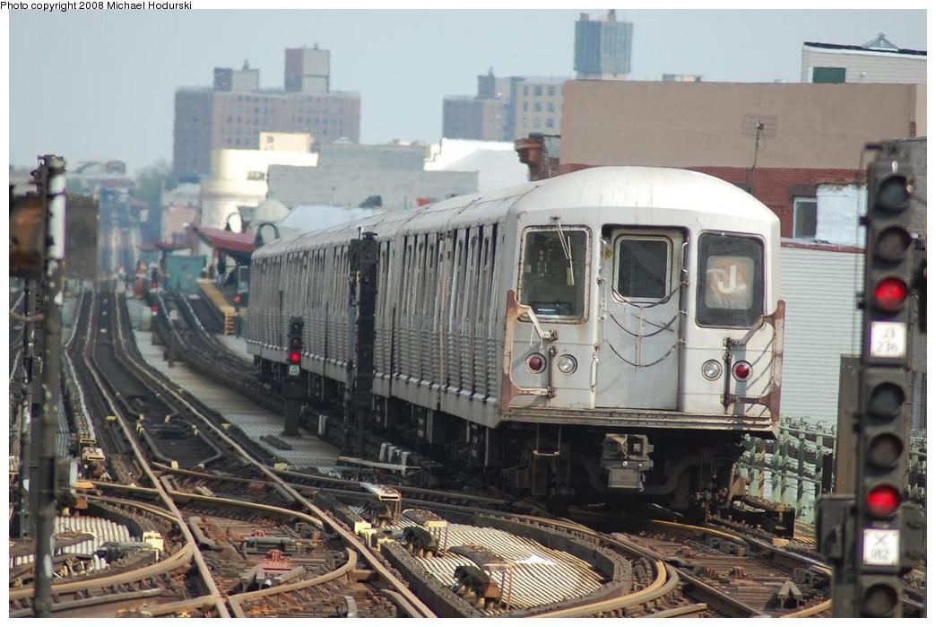 (224k, 1044x699)<br><b>Country:</b> United States<br><b>City:</b> New York<br><b>System:</b> New York City Transit<br><b>Line:</b> BMT Nassau Street/Jamaica Line<br><b>Location:</b> Myrtle Avenue <br><b>Route:</b> J<br><b>Car:</b> R-42 (St. Louis, 1969-1970)  4587 <br><b>Photo by:</b> Michael Hodurski<br><b>Date:</b> 5/3/2008<br><b>Viewed (this week/total):</b> 0 / 2141