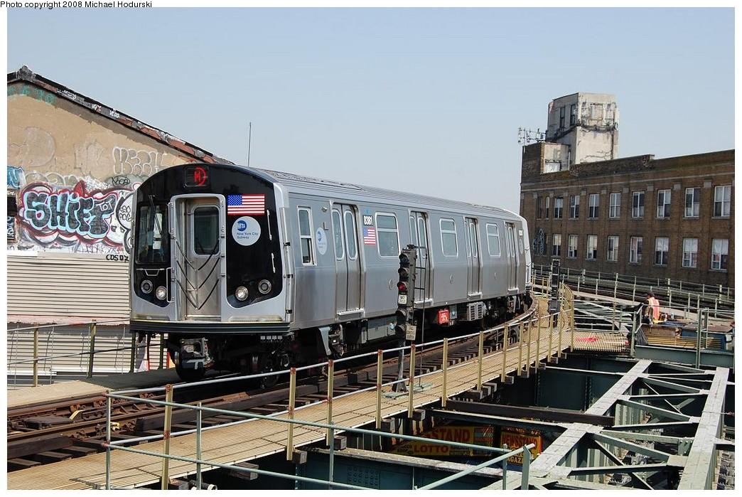 (262k, 1044x699)<br><b>Country:</b> United States<br><b>City:</b> New York<br><b>System:</b> New York City Transit<br><b>Line:</b> BMT Myrtle Avenue Line<br><b>Location:</b> Wyckoff Avenue <br><b>Route:</b> M<br><b>Car:</b> R-160A-1 (Alstom, 2005-2008, 4 car sets)  8381 <br><b>Photo by:</b> Michael Hodurski<br><b>Date:</b> 4/18/2008<br><b>Viewed (this week/total):</b> 0 / 2399