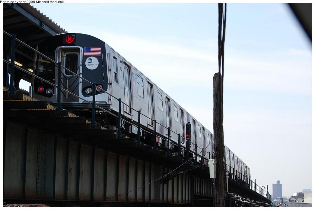 (177k, 1044x699)<br><b>Country:</b> United States<br><b>City:</b> New York<br><b>System:</b> New York City Transit<br><b>Line:</b> BMT Myrtle Avenue Line<br><b>Location:</b> Wyckoff Avenue <br><b>Route:</b> M<br><b>Car:</b> R-160A-1 (Alstom, 2005-2008, 4 car sets)  8405 <br><b>Photo by:</b> Michael Hodurski<br><b>Date:</b> 4/18/2008<br><b>Viewed (this week/total):</b> 0 / 2422