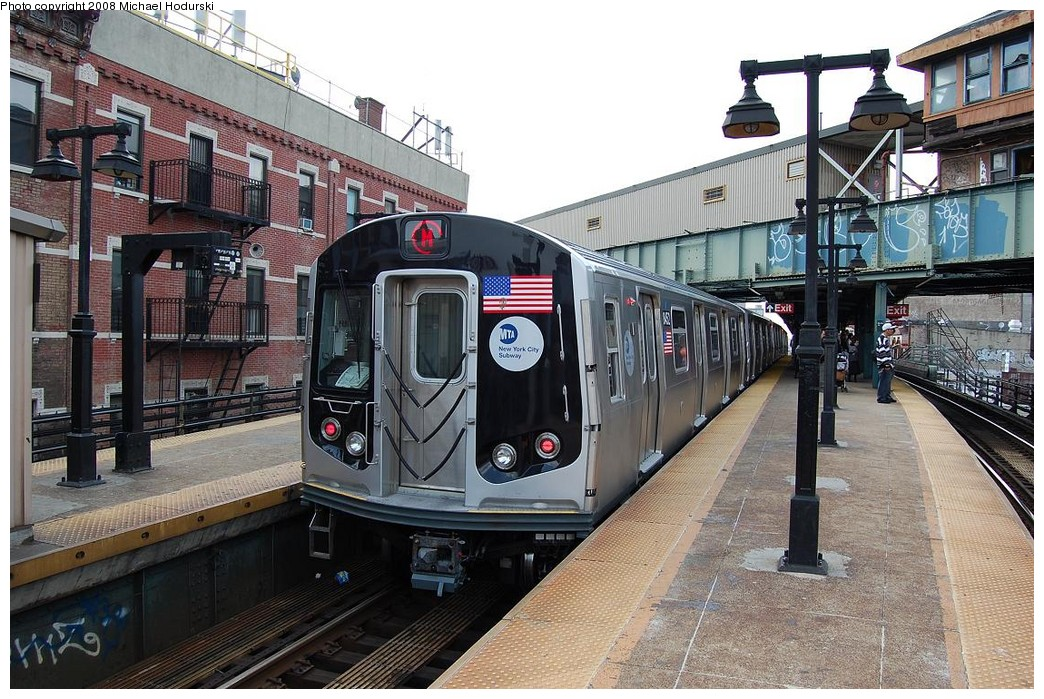 (283k, 1044x699)<br><b>Country:</b> United States<br><b>City:</b> New York<br><b>System:</b> New York City Transit<br><b>Line:</b> BMT Nassau Street/Jamaica Line<br><b>Location:</b> Myrtle Avenue <br><b>Route:</b> M<br><b>Car:</b> R-160A-1 (Alstom, 2005-2008, 4 car sets)  8452 <br><b>Photo by:</b> Michael Hodurski<br><b>Date:</b> 5/3/2008<br><b>Viewed (this week/total):</b> 0 / 1895