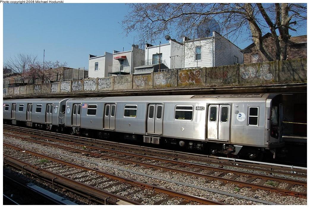 (330k, 1044x699)<br><b>Country:</b> United States<br><b>City:</b> New York<br><b>System:</b> New York City Transit<br><b>Line:</b> BMT Sea Beach Line<br><b>Location:</b> 86th Street <br><b>Route:</b> N<br><b>Car:</b> R-160B (Kawasaki, 2005-2008)  8803 <br><b>Photo by:</b> Michael Hodurski<br><b>Date:</b> 4/18/2008<br><b>Viewed (this week/total):</b> 1 / 1304