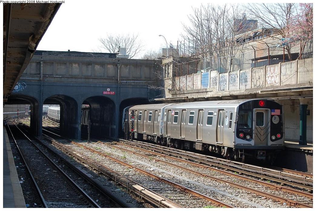 (324k, 1044x699)<br><b>Country:</b> United States<br><b>City:</b> New York<br><b>System:</b> New York City Transit<br><b>Line:</b> BMT Sea Beach Line<br><b>Location:</b> 86th Street <br><b>Route:</b> N<br><b>Car:</b> R-160B (Kawasaki, 2005-2008)  8803 <br><b>Photo by:</b> Michael Hodurski<br><b>Date:</b> 4/18/2008<br><b>Viewed (this week/total):</b> 1 / 1288