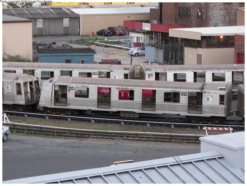 (294k, 1044x788)<br><b>Country:</b> United States<br><b>City:</b> New York<br><b>System:</b> New York City Transit<br><b>Location:</b> 207th Street Yard<br><b>Car:</b> R-40 (St. Louis, 1968)  4234 <br><b>Photo by:</b> David-Paul Gerber<br><b>Date:</b> 6/12/2008<br><b>Notes:</b> Scrap<br><b>Viewed (this week/total):</b> 1 / 1099