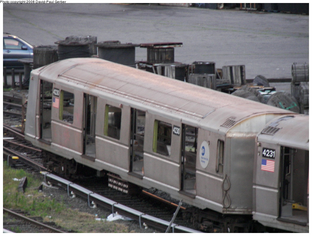 (240k, 1044x788)<br><b>Country:</b> United States<br><b>City:</b> New York<br><b>System:</b> New York City Transit<br><b>Location:</b> 207th Street Yard<br><b>Car:</b> R-40 (St. Louis, 1968)  4230 <br><b>Photo by:</b> David-Paul Gerber<br><b>Date:</b> 6/12/2008<br><b>Notes:</b> Scrap<br><b>Viewed (this week/total):</b> 0 / 1193