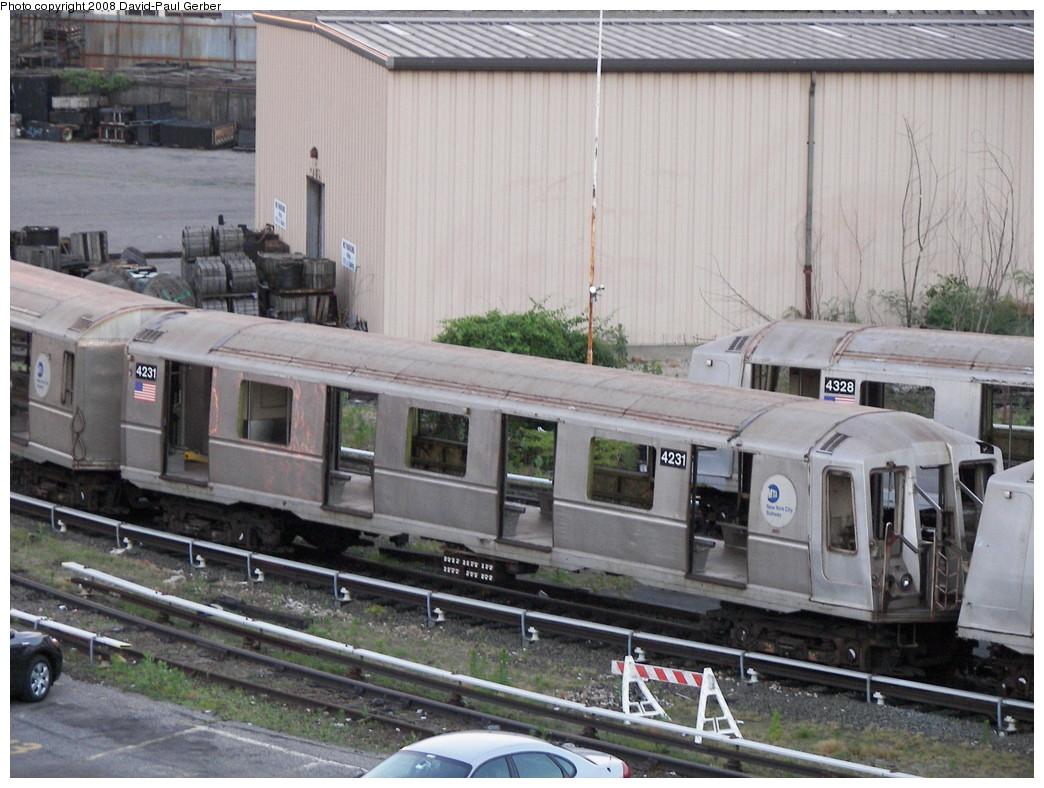 (288k, 1044x788)<br><b>Country:</b> United States<br><b>City:</b> New York<br><b>System:</b> New York City Transit<br><b>Location:</b> 207th Street Yard<br><b>Car:</b> R-40 (St. Louis, 1968)  4231 <br><b>Photo by:</b> David-Paul Gerber<br><b>Date:</b> 6/12/2008<br><b>Notes:</b> Scrap<br><b>Viewed (this week/total):</b> 0 / 1010