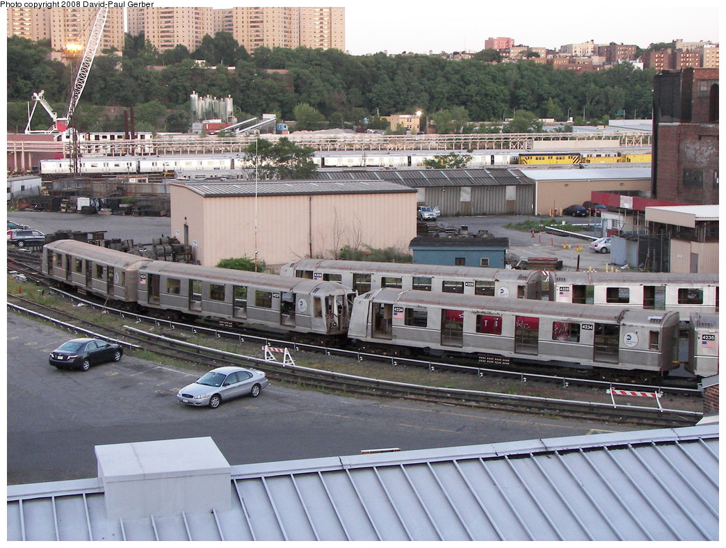 (338k, 1044x788)<br><b>Country:</b> United States<br><b>City:</b> New York<br><b>System:</b> New York City Transit<br><b>Location:</b> 207th Street Yard<br><b>Car:</b> R-40 (St. Louis, 1968)  4230/4231/4234/4328/4329 <br><b>Photo by:</b> David-Paul Gerber<br><b>Date:</b> 6/12/2008<br><b>Notes:</b> Scrap<br><b>Viewed (this week/total):</b> 0 / 1948