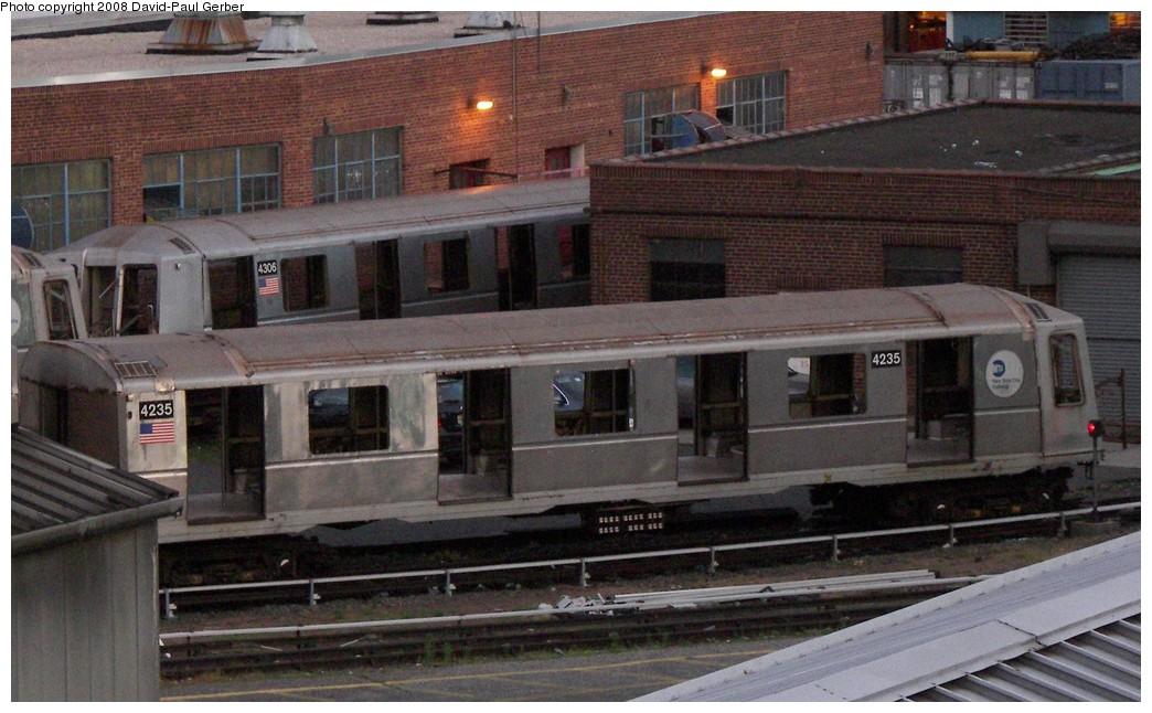 (184k, 1044x646)<br><b>Country:</b> United States<br><b>City:</b> New York<br><b>System:</b> New York City Transit<br><b>Location:</b> 207th Street Yard<br><b>Car:</b> R-40 (St. Louis, 1968)  4235/4306 <br><b>Photo by:</b> David-Paul Gerber<br><b>Date:</b> 6/12/2008<br><b>Notes:</b> Scrap<br><b>Viewed (this week/total):</b> 1 / 1845