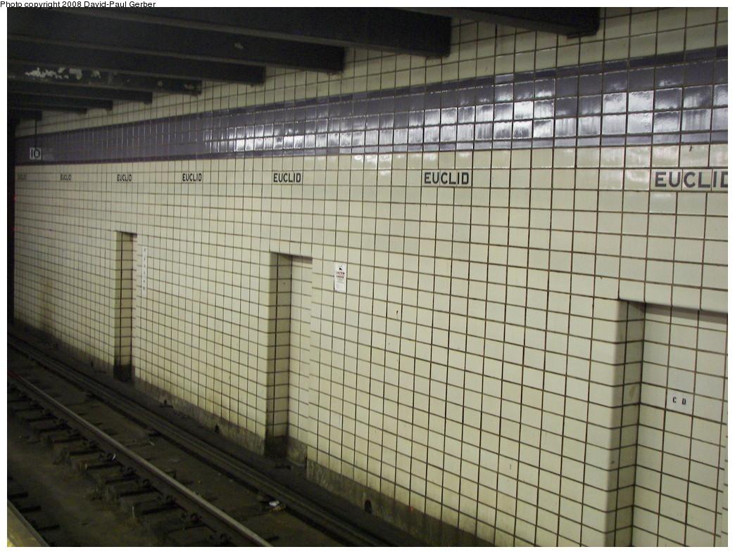 (291k, 1044x788)<br><b>Country:</b> United States<br><b>City:</b> New York<br><b>System:</b> New York City Transit<br><b>Line:</b> IND Fulton Street Line<br><b>Location:</b> Euclid Avenue <br><b>Photo by:</b> David-Paul Gerber<br><b>Date:</b> 6/11/2008<br><b>Notes:</b> Track-side wall.<br><b>Viewed (this week/total):</b> 0 / 1131