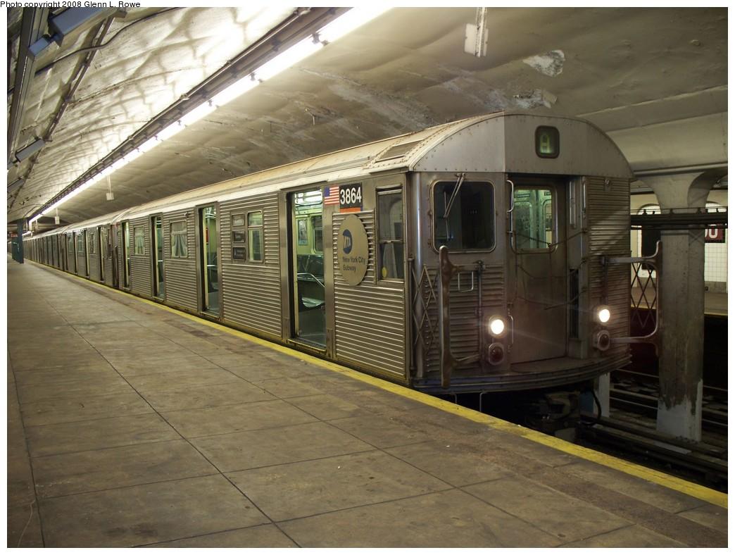(218k, 1044x788)<br><b>Country:</b> United States<br><b>City:</b> New York<br><b>System:</b> New York City Transit<br><b>Line:</b> IND 8th Avenue Line<br><b>Location:</b> 190th Street/Overlook Terrace <br><b>Route:</b> A<br><b>Car:</b> R-32 (Budd, 1964)  3864 <br><b>Photo by:</b> Glenn L. Rowe<br><b>Date:</b> 6/12/2008<br><b>Viewed (this week/total):</b> 0 / 1325